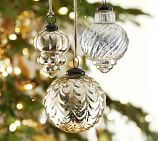 Antique Mercury Glass Ornaments, Set of 3, one of each style