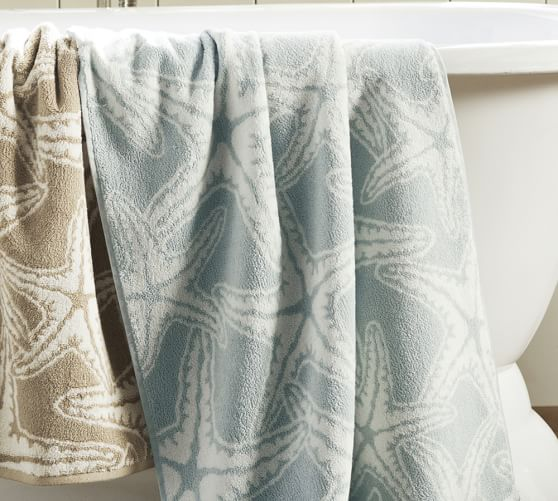 Starfish Jacquard Bath Towel, Sandalwood