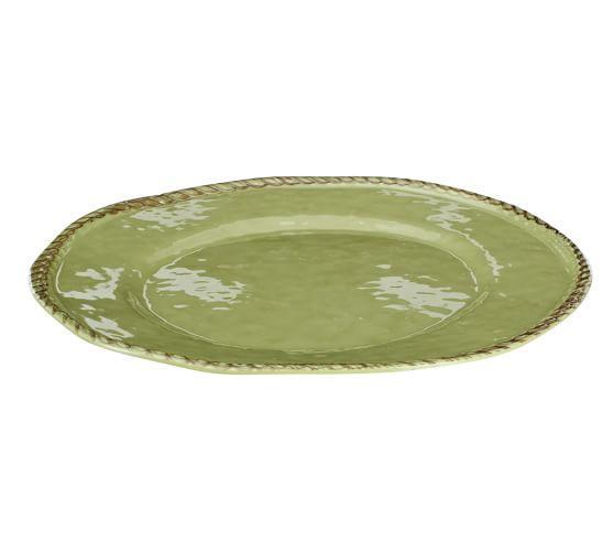 Rope Melamine Dinner Plate, Green, Set of 4