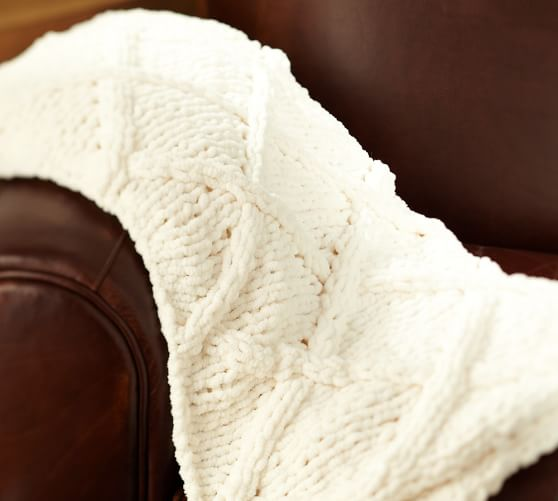 Diamond Hand-Knit Throw, Ivory