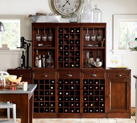 8-Piece Modular Bar Wall Unit (3 wine grid & 2 cabinet bases, 2 open & 1 wine grid hutch), Mahogany stain