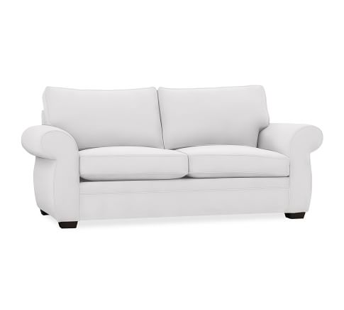 Pearce Upholstered Sleeper Sofa, Polyester Wrapped Cushions, Twill White