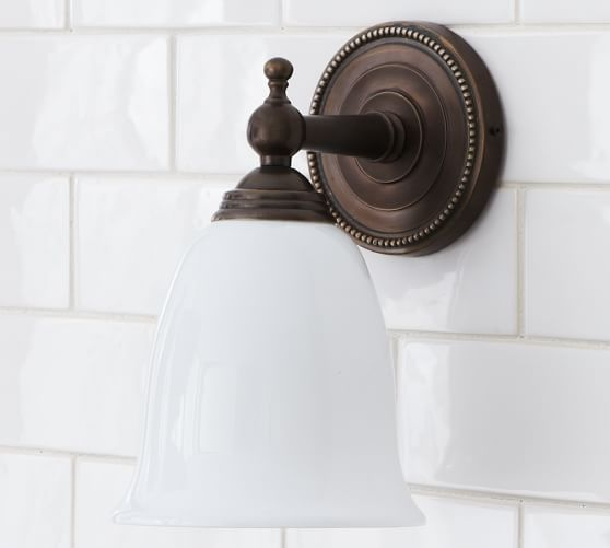 Quinn Beaded Single Sconce, Single, Oil Rubbed Bronze finish