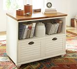 Whitney Shuttered Lateral File Cabinet with Shelf, Almond White with Honey stain