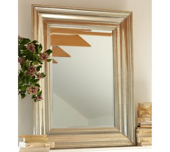 """Isabelle Mirror, 39 x 51"""", Silver-Plate"""