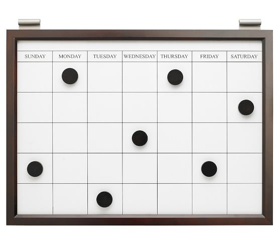 Magnetic Whiteboard Calendar, Espresso stain