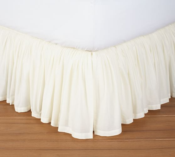 Voile Bed Skirt, King, Ivory