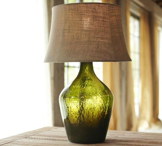Clift Glass Bottle Table Lamp Base, Green