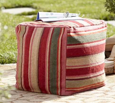 Hermosa Stripe Recycled Yarn Indoor/Outdoor Cube Cover 18