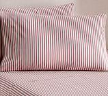 Thatcher Ticking Stripe Sheet Set, Twin, Red