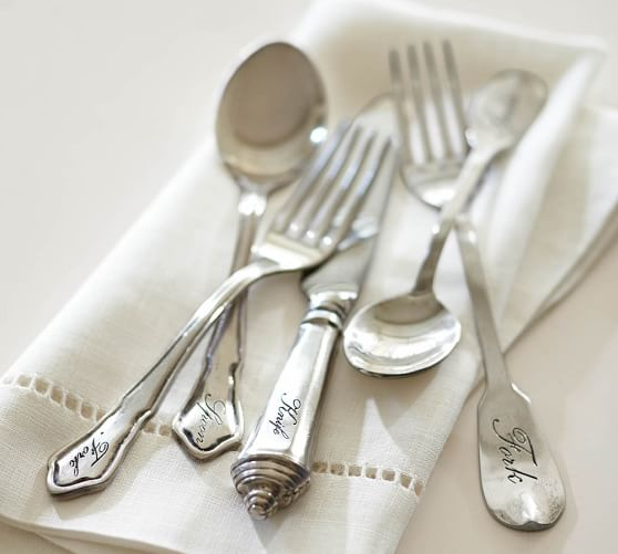 Antique Silver Sentiment Flatware, 5-Piece Place Setting