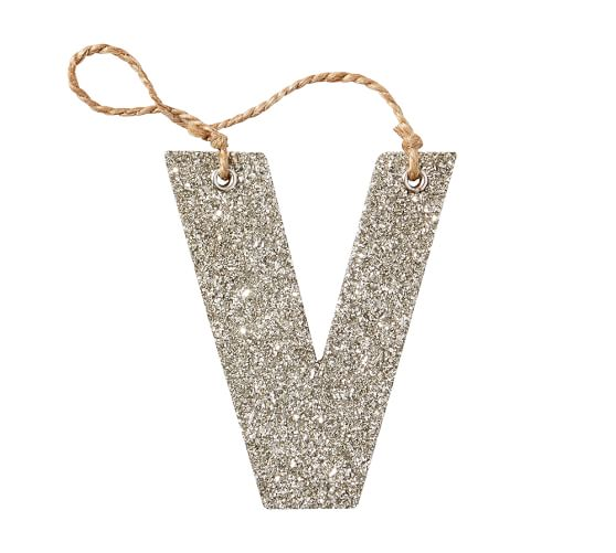 Silver German Glitter Letter Ornament V Pottery Barn