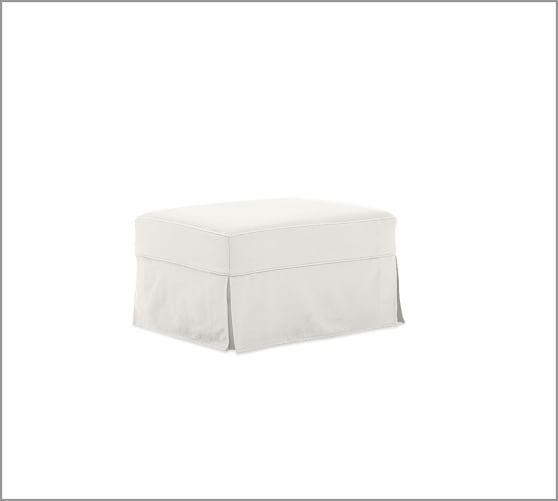 PB Comfort Ottoman Slipcover, Twill White