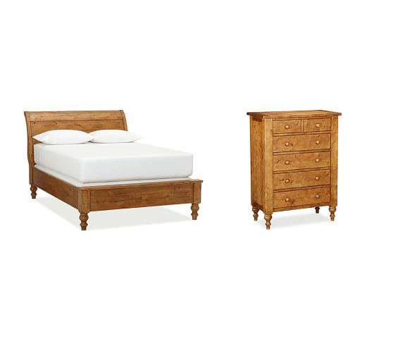 Ashby Sleigh Bed & Tall Dresser, Queen, Rustic Pine finish