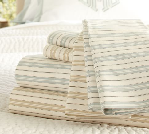 Henri Ticking Stripe Organic Cotton Sheet Set, Twin, Dark Porcelain Blue