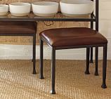 Tanner Metal & Glass Stool with Espresso Leather, Matte Iron-Bronze finish
