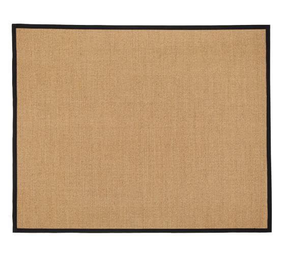 Color-Bound Natural Sisal Rug, 5x8', Black Border