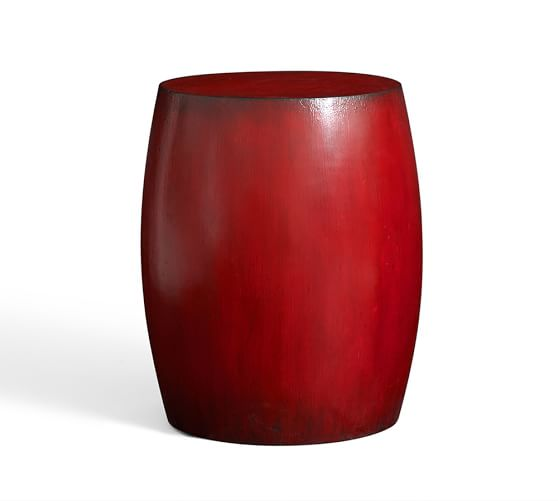 Deacon Painted Wood Drum Side Table, Red
