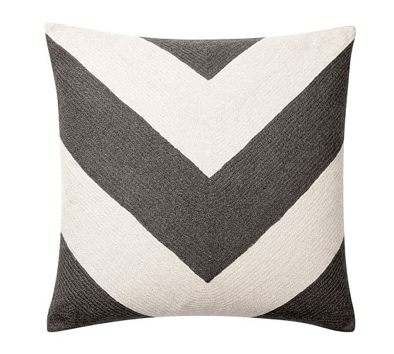 Overscale Chrevron Crewel Embroidered Pillow Cover, 24
