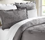 Chenille Embroidered Floral Duvet Cover, Twin, Gray