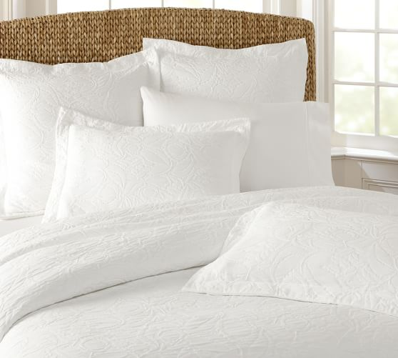 Valerie Floral Matelasse Duvet Cover, Full/Queen, White
