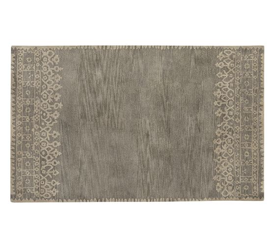 Desa Bordered Wool Rug, 5x8', Gray