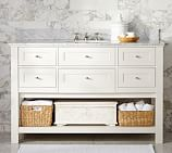 Classic Single Wide Sink Console, White, Carrara Marble & Chrome Finish Knobs