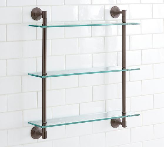Mercer Triple Glass Shelf, Antique Bronze finish