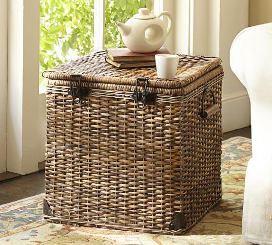 Daytrip Lidded Split Rattan Basket, Cube