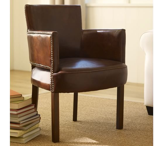 Baldwin Leather Armchair, Distressed Espresso