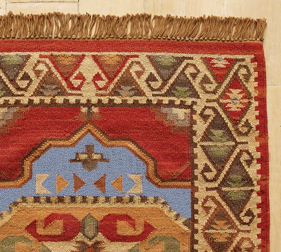 Lola kilim table runner rug 3 x 5 39 red pottery barn - Discontinued pottery barn rugs ...