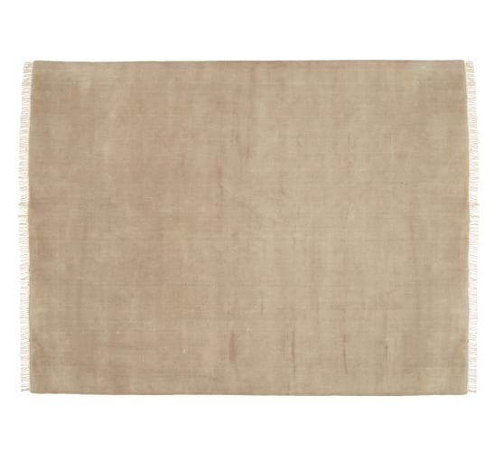 Fringed Hand-Loomed Wool Rug, 5x8', Wheat