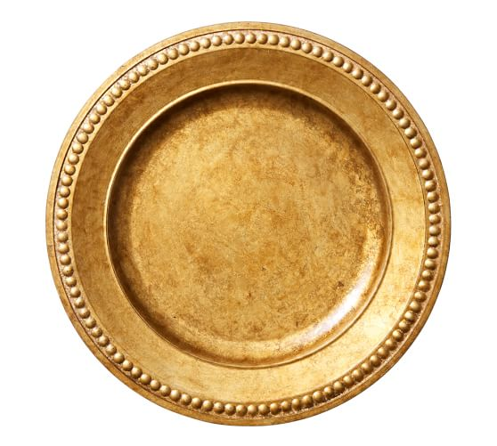 Beaded Gilt Round Charger, Gold finish