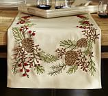 Embroidered Pinecone & Berry Table Runner, 18 x 108
