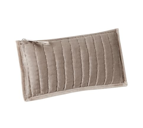 Channel Quilted Velvet Envelope Pouch, Brownstone