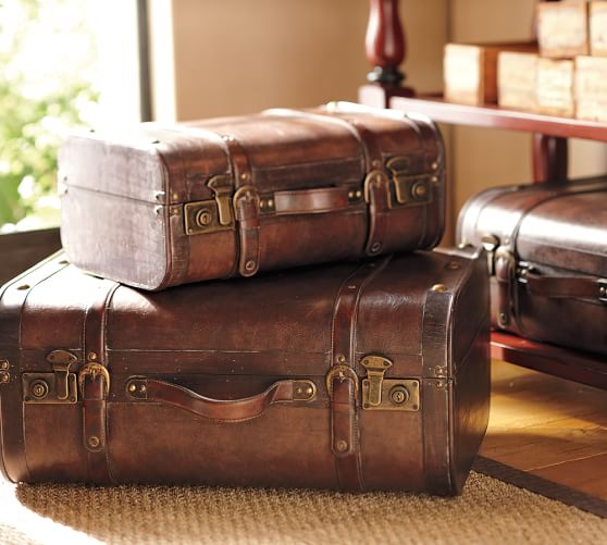 Nesting Leather Trunks, Set of 3