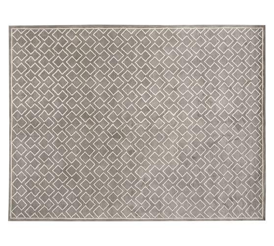 Taylor Geometric Gun-Tufted Wool Rug, 5x8', Gray Mist
