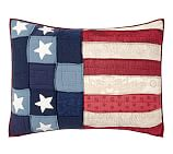 Old Glory Flag Patchwork Quilted Sham, Standard