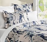 Ari Elephant Printed Duvet Cover, Twin, Twilight