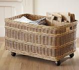 Jacquelyne Rattan Recycling Bin Basket