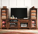 Benchwright Large TV Media Suite with Towers, Rustic Mahogany stain