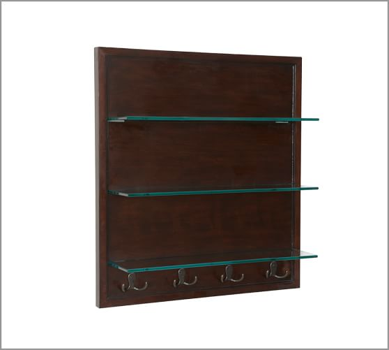 Modular Wall Extra-Large Glass Shelves with Hooks, Espresso finish