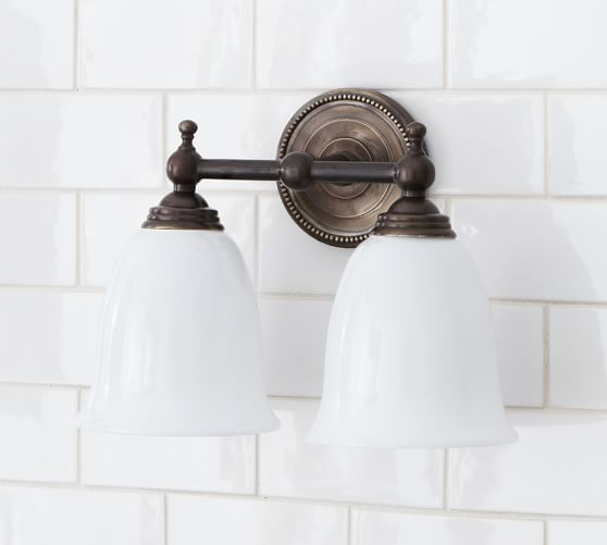 Quinn Beaded Sconce, Double, Oil Rubbed Bronze finish