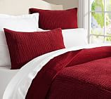 Velvet Channel Quilt, Full/Queen, Ruby Red