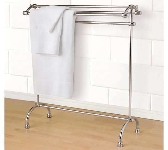 Mercer Towel Stand, Polished Nickel finish