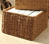 Samantha Square Basket, Honey finish