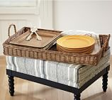 Jacquelyne Rattan Tray with Rope Handle