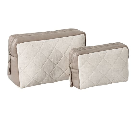 Quilted Linen & Silk Cosmetic Bags, Set of 2, Flax