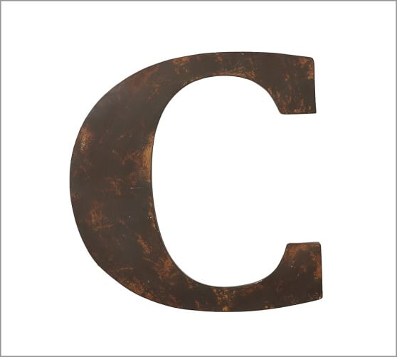 Rustic Metal Letter, C