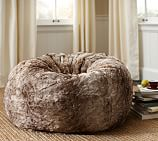 Faux Fur Beanbag Cover with Insert, Ombre Caramel